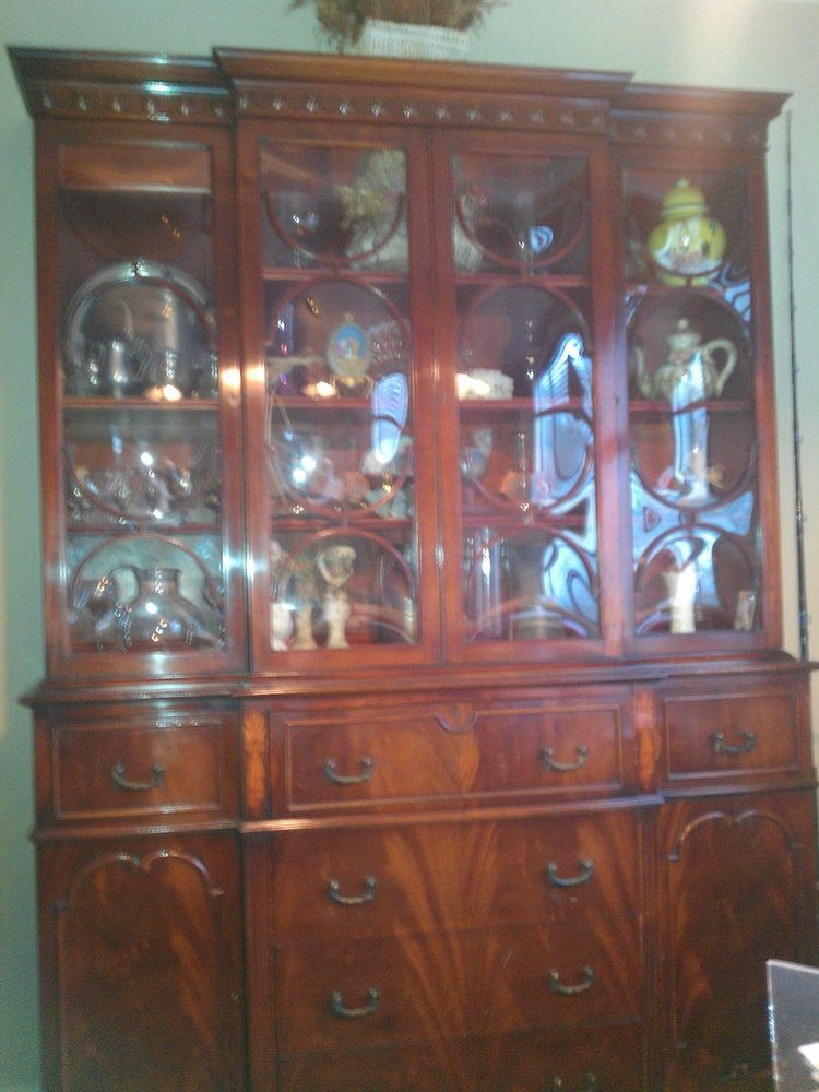SAGINAW made, Vintage/antique Rare Mahogany China Breakfront Cabinet  w/secretary - SAGINAW Made, Vintage/antique Rare Mahogany China Breakfront Cabinet