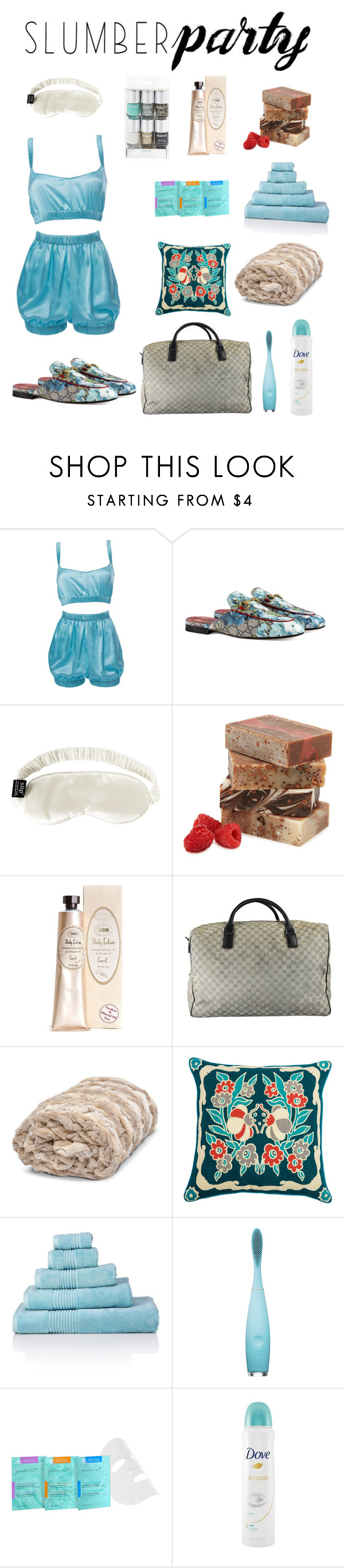 """""""Slumber Party Set - By DreamCloset"""" by soldier4christx4 ❤ liked on Polyvore featuring Roses Are Red, Gucci, Slip, FOREO, Patchology, Dove and slumberparty"""