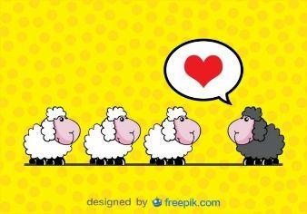 ベクトルカード漫画 - 恋の羊
