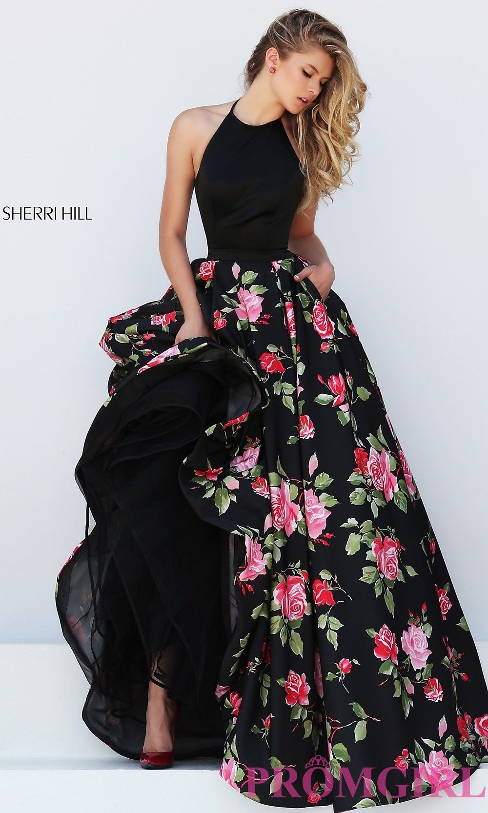 Image of floor length halter top floral print dress detail image