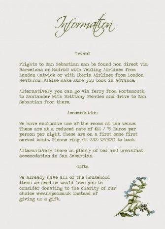 Wedding Invitation Information Card Wording