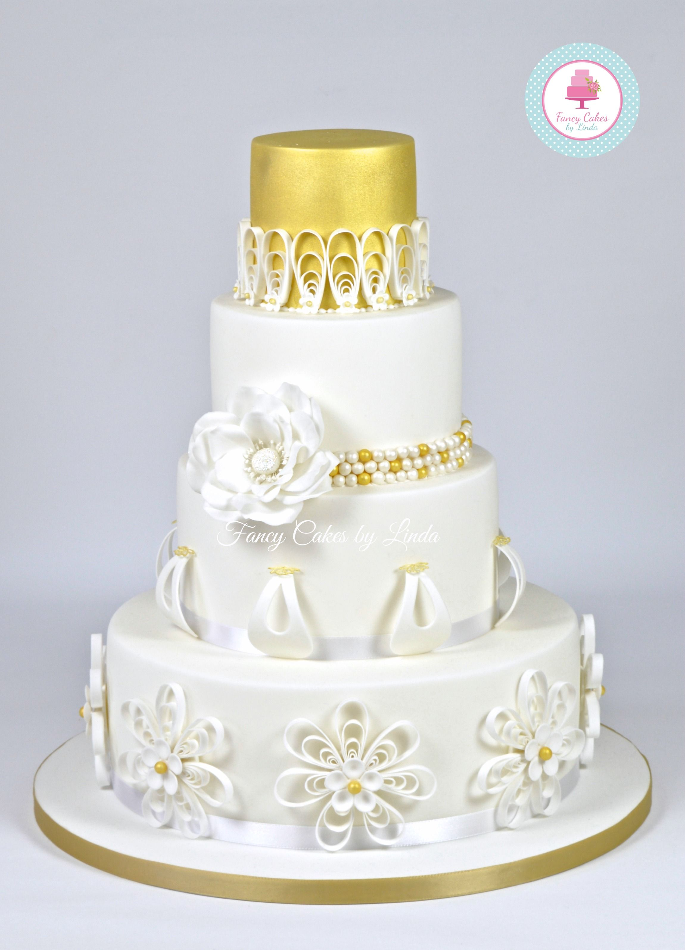 Gold & White Quilling Wedding Cake 07917815712 www.facebook.com ...