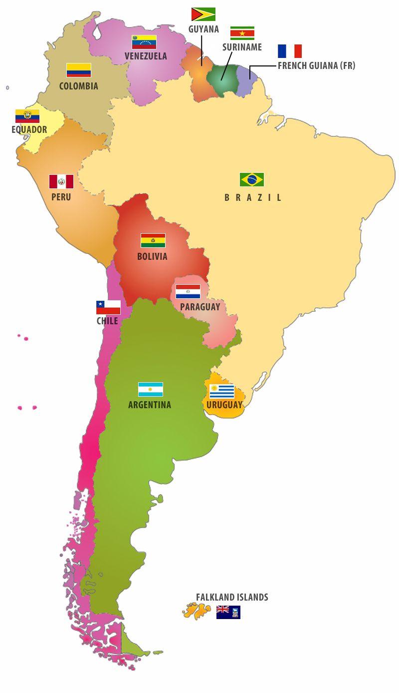 América del Sur: Naciones y Banderas | Mape itd | Geografía mundial ...