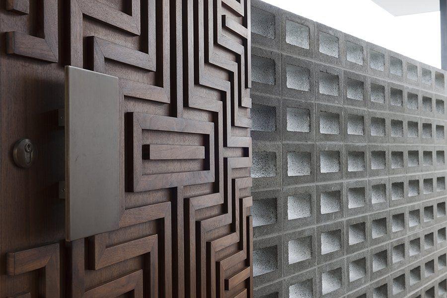 timber + concrete block