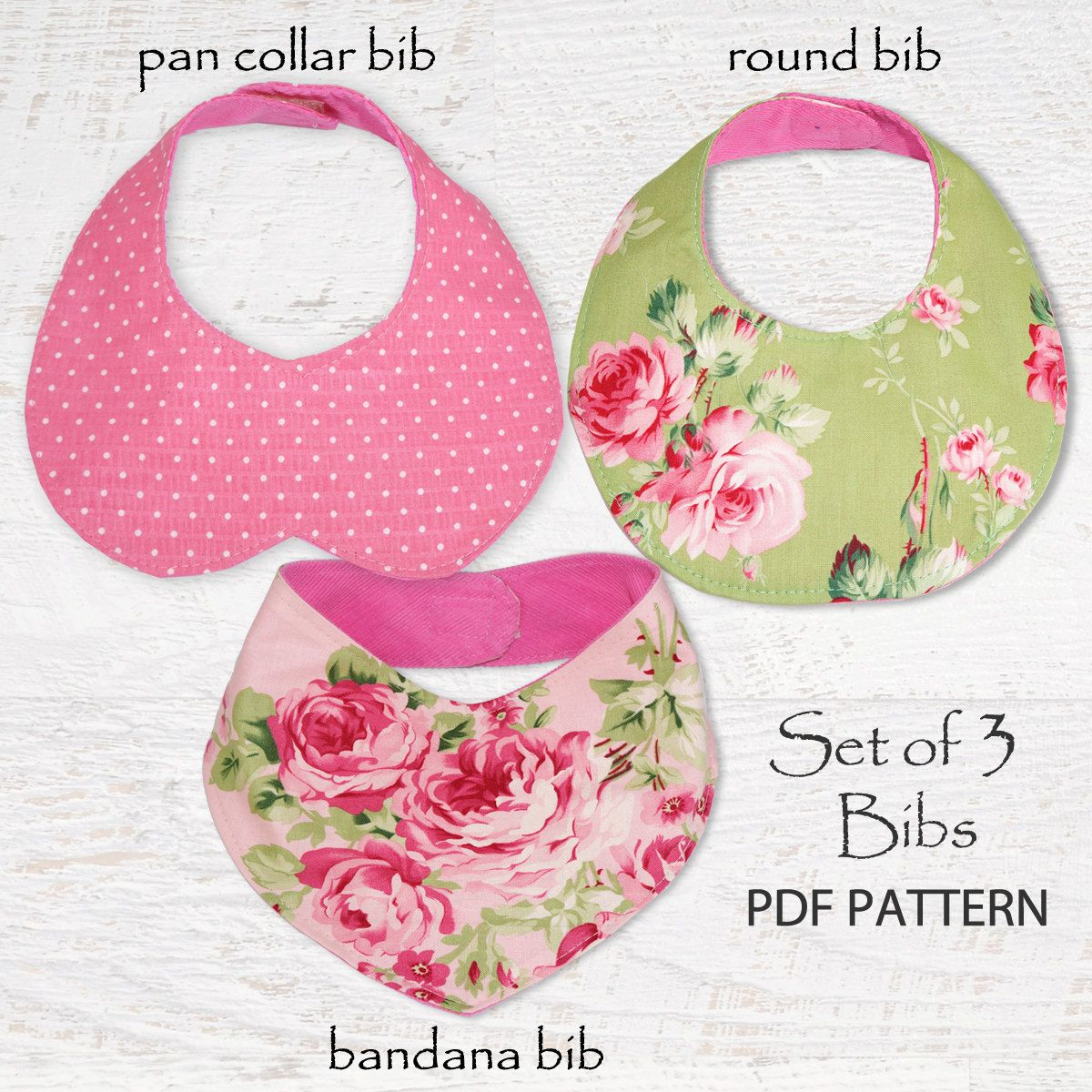 Baby sewing pattern for Bibs, PDF Sewing pattern, Bandana Bib, Baby ...