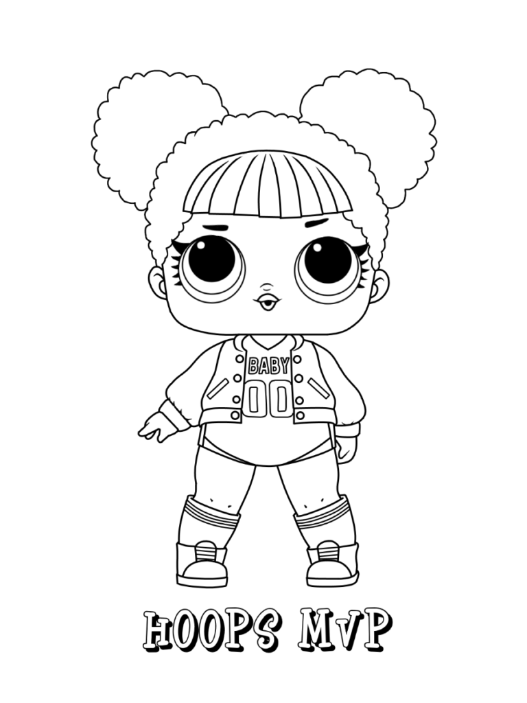 Lol Surprise Dolls Coloring Page Series 1 Athletic Hoops Mvp Cute Coloring Pages Cartoon Coloring Pages Lol Dolls
