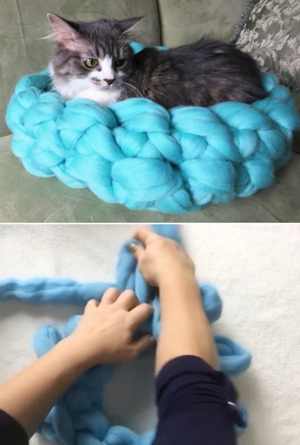 Comment tricoter cet adorable lit pour chat en seulement 30 minutes