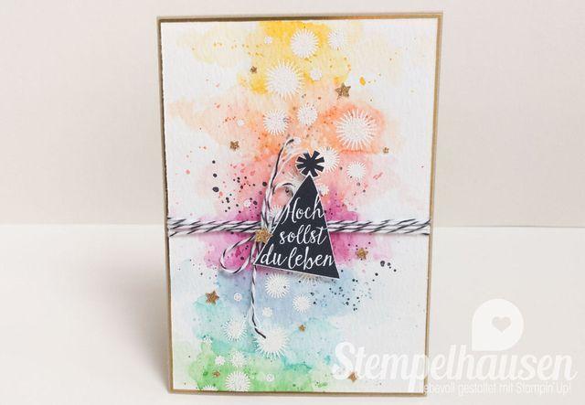 Geburtstagskarte im Regenbogen Aquarell Look