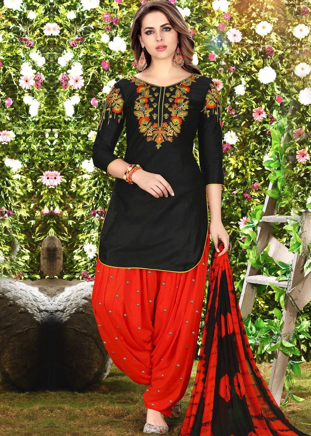 4fb0ca2aa7 Black Cotton Punjabi Salwar Suit with Dupatta | Latest Punjabi ...