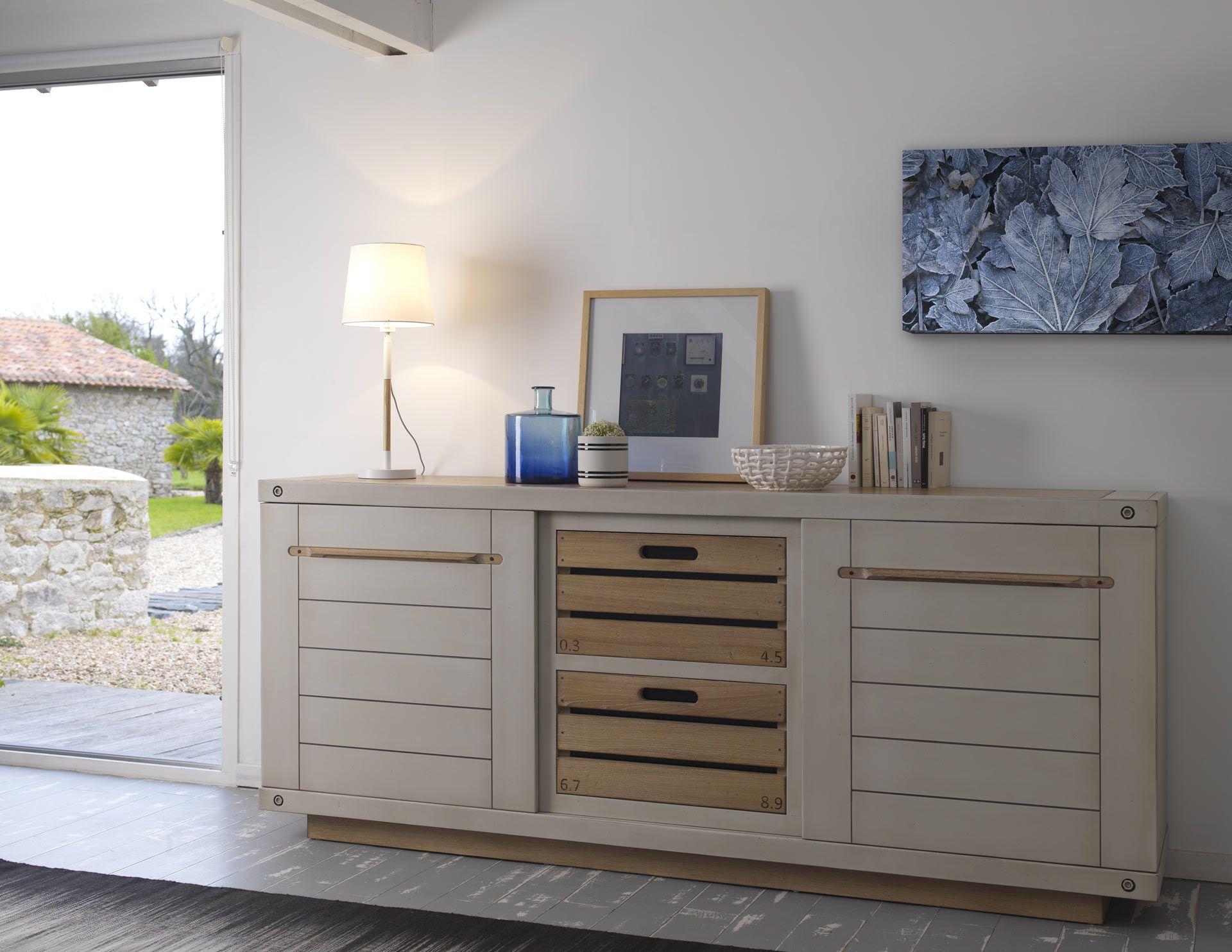 bahut salle manger michigan en ch ne style atelier casier meubles au style industriel. Black Bedroom Furniture Sets. Home Design Ideas