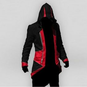 Conner Kenway Black & Red Jacket Hoodie | Assassins Creed Cosplay ...