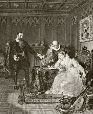 John Knox admonishing Mary Queen of Scots about her planned marriage to Don Carlos, son of Philip II of Spain, 24 June 1563, from 'The National and Domestic History of England' by William Hickman Smith Aubrey Fine Art Print by English School