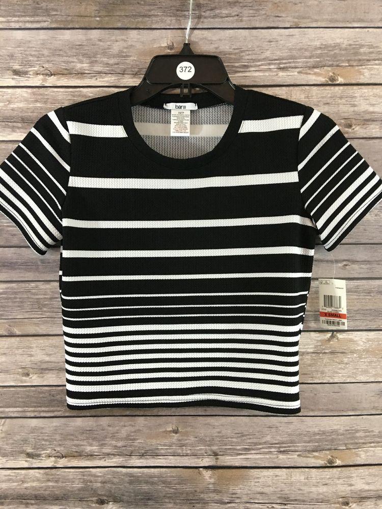 2c4591dde BAR III Women s Black   White Striped Short Sleeve Crop Top Size XS NEW   BARIII  CropTop