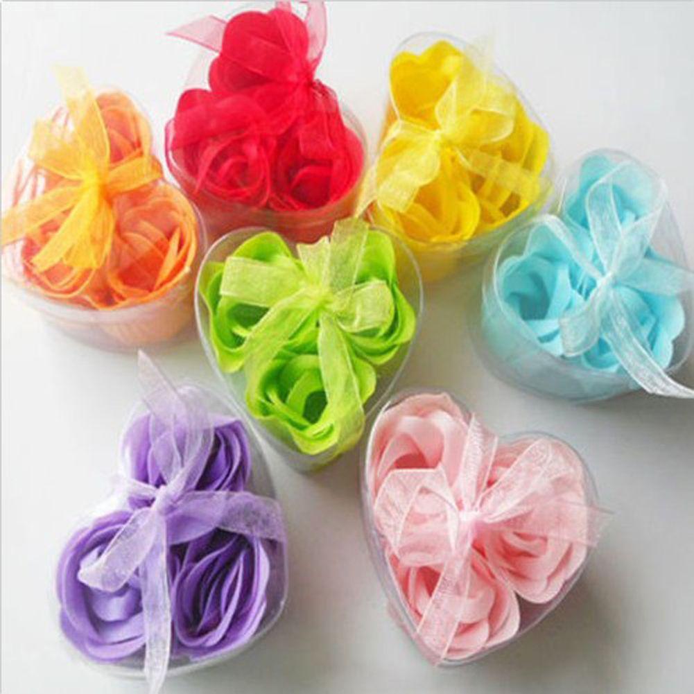 3 Pcs Boite En Forme De Coeur Rose Savon Fleurs Romantique Cadeau De