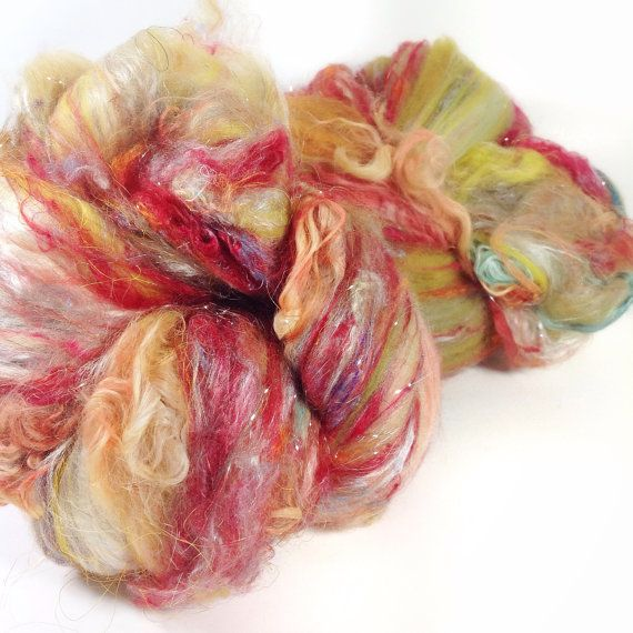 3.8 oz 110 grams luxurious fiber art batts grade A mulberry silk sparkle and baby suri locks galore Copy