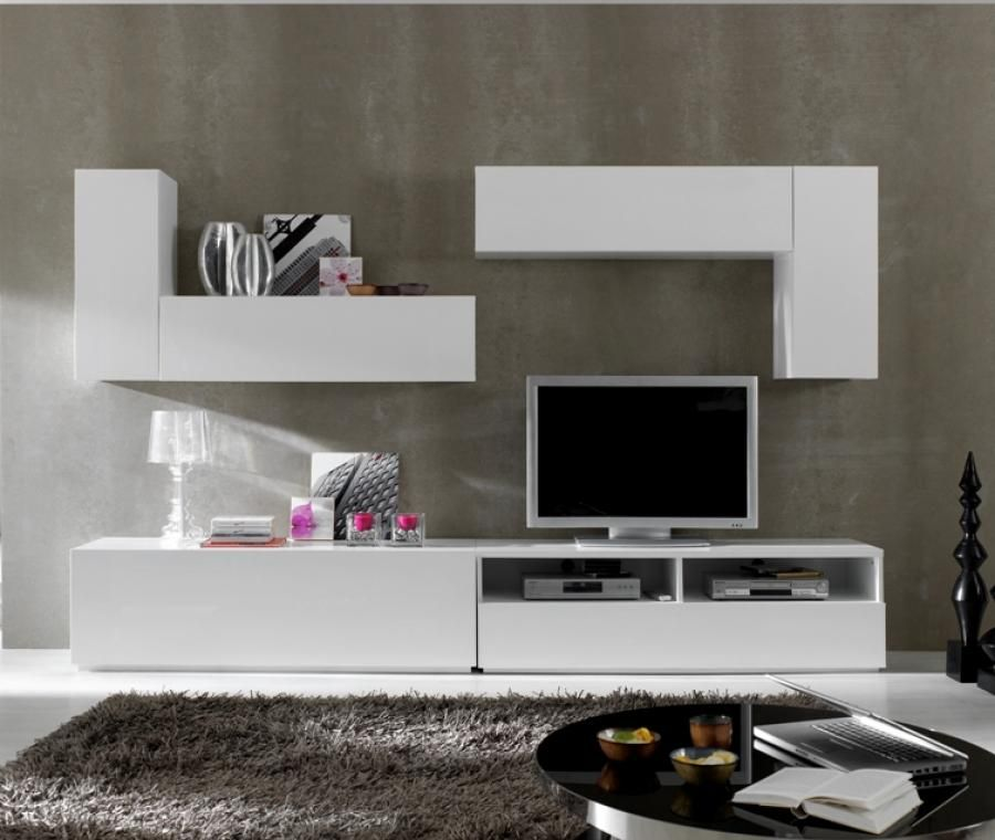 White or black high gloss storage system with a tv unit for Wall units for living room