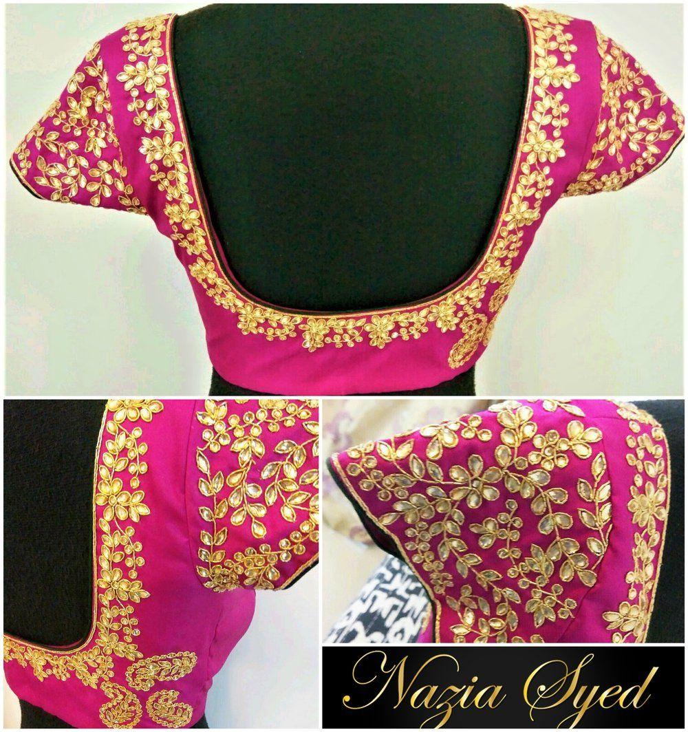 Pink Kundan work Bridal Blouse by NaziaSyed #southindianfashion ...