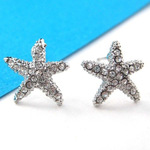Small Starfish Star Shaped Stud Earrings in Silver with Rhinestones from  Dotoly Love on Wanelo 4c22cfc9b870