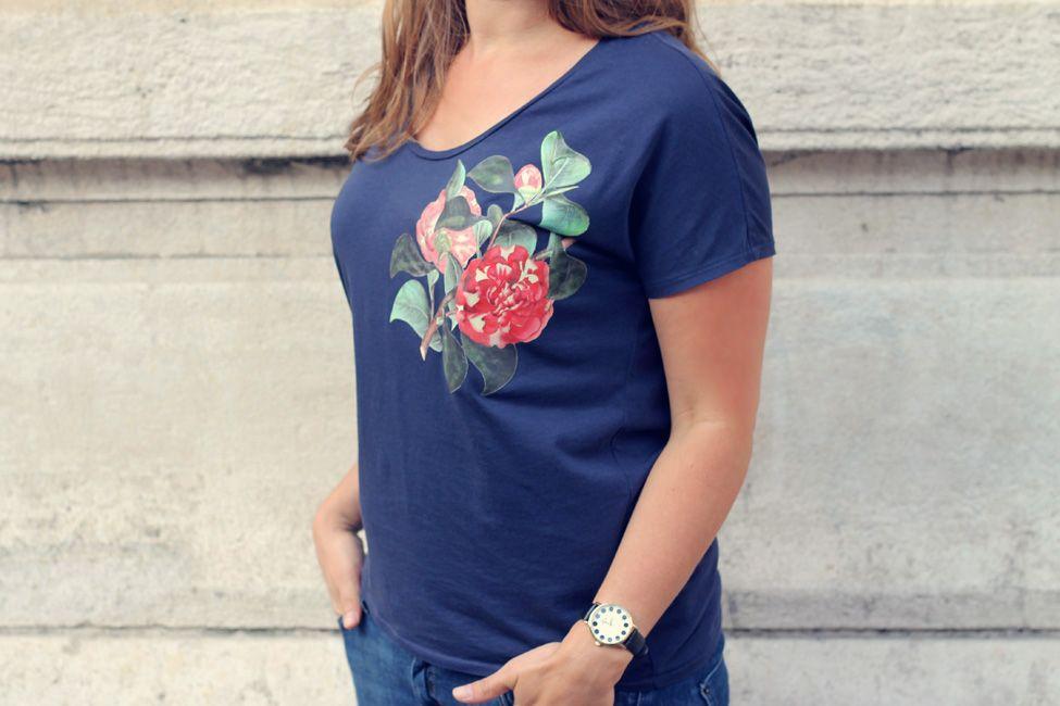 diy customiser un t shirt avec un motif botanique sur. Black Bedroom Furniture Sets. Home Design Ideas