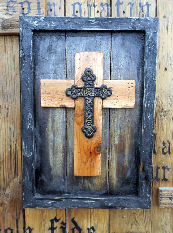 Rustic Mission Style Wood and Metal Framed Cross by TheArtsofTexas ...