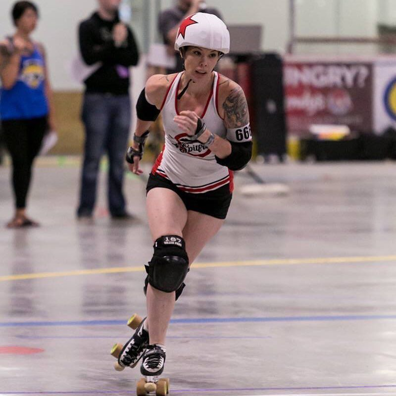 Super excited and honoured to be playing as a charter for one of my favourite Atlantic Canadian teams later this month!!! Stay tuned for more info! YAY MORE DERBY!  In the meantime here's another incredible shot from #rumble2016 by the talented @areinders9!  #rollerderby #jammer #capitalcityrollers #spitfires