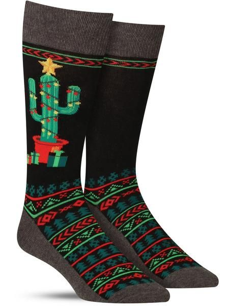 Christmas Cactus Socks   Mens   Socks, Cactus socks ...