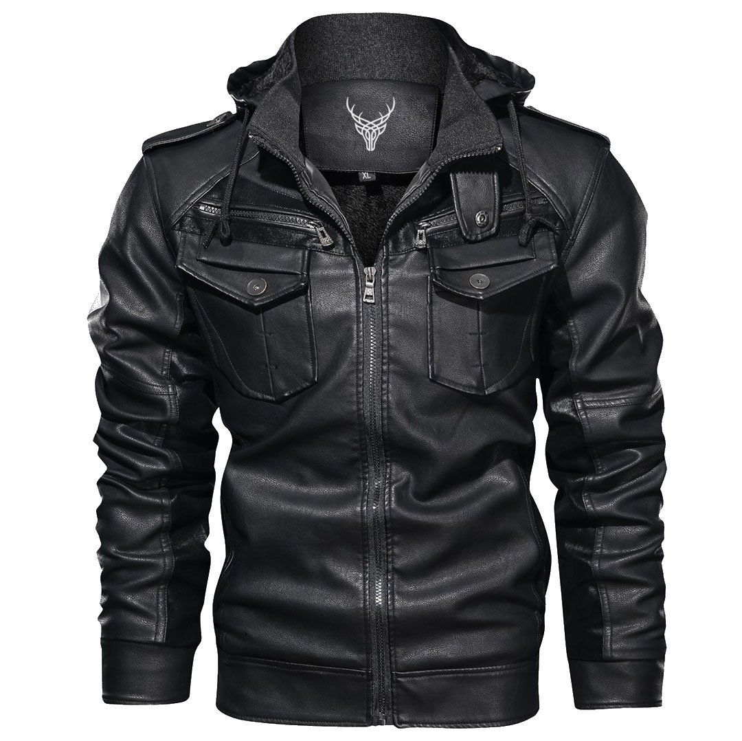 Denzell Outwear Rough Rider Jacket Leather Jacket Leather Jacket With Hood Leather Jacket Black [ 1078 x 1080 Pixel ]