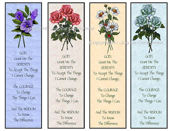 Printable Bookmarks, Flowers, Serenity Prayer INSTANT DOWNLOAD