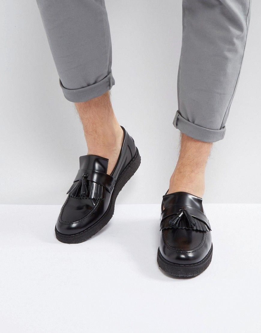 FRED PERRY X GEORGE COX LEATHER TASSEL LOAFERS BLACK - BLACK.  fredperry   shoes   bc8d9968356