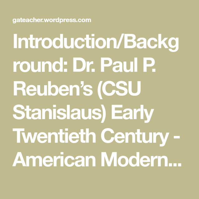 Teaching: Modernism and Harlem Renaissance Unit (American