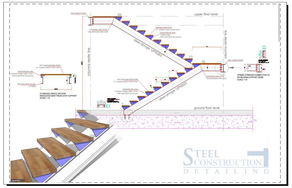 Stair And Handrail Detailing In London Steel Construction | Structural Steel Stair Design | Steel Construction | 4 Column Steel | Detailing | Steel Staircase | Small Space