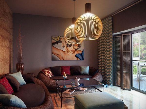 Wohnzimmer Einrichtung Dunkel Lila Wand Kronleuchter Design