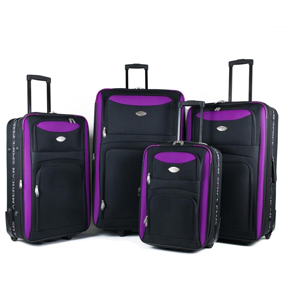 06e68f67c430 Duo Black/Purple 4-Piece Expandable In-Line Luggage Set in 2019 ...