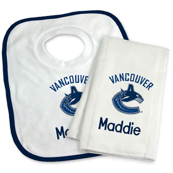 Vancouver canucks newborn infant personalized bib burp cloth vancouver canucks newborn infant personalized bib burp cloth set white 3799 burp clothsbaby giftstampa negle Choice Image