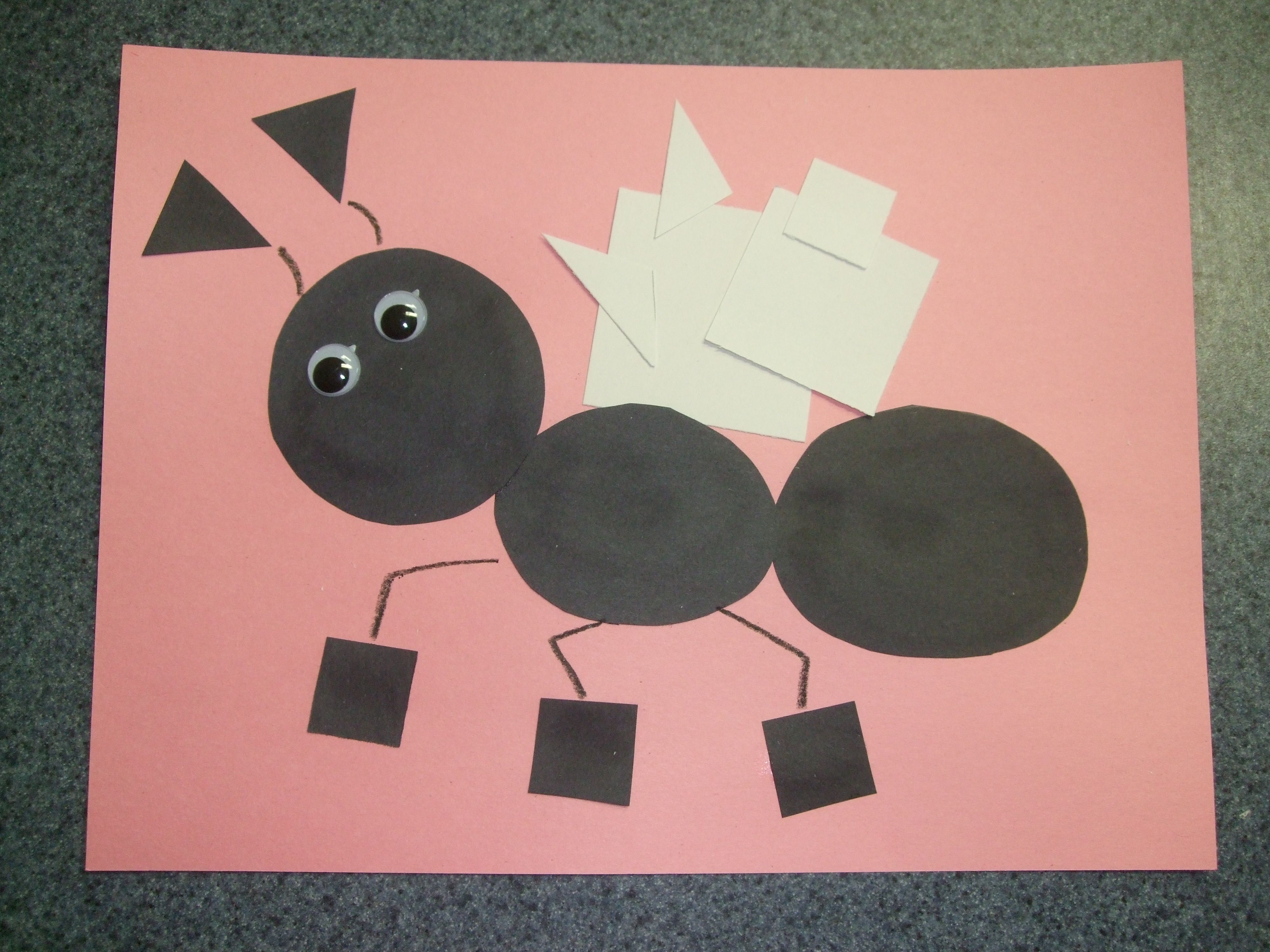 Kids Craft The Ant With Shapes Squares Triangles Circles Preschool Art Preschool Crafts Insects Preschool [ 3000 x 4000 Pixel ]