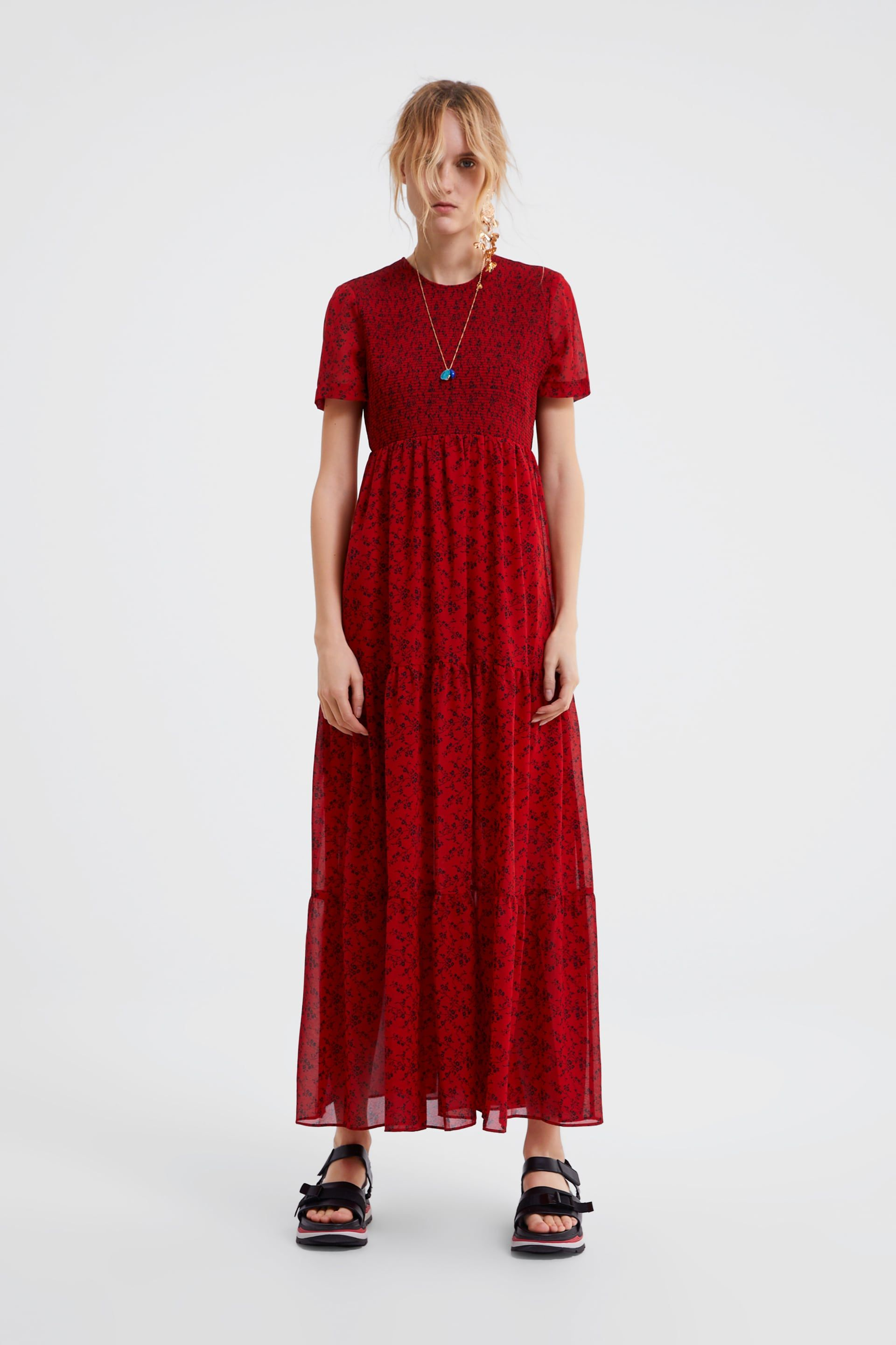 9cd379a0 Floral print dress in 2019 | Clothing | Red floral maxi dress ...