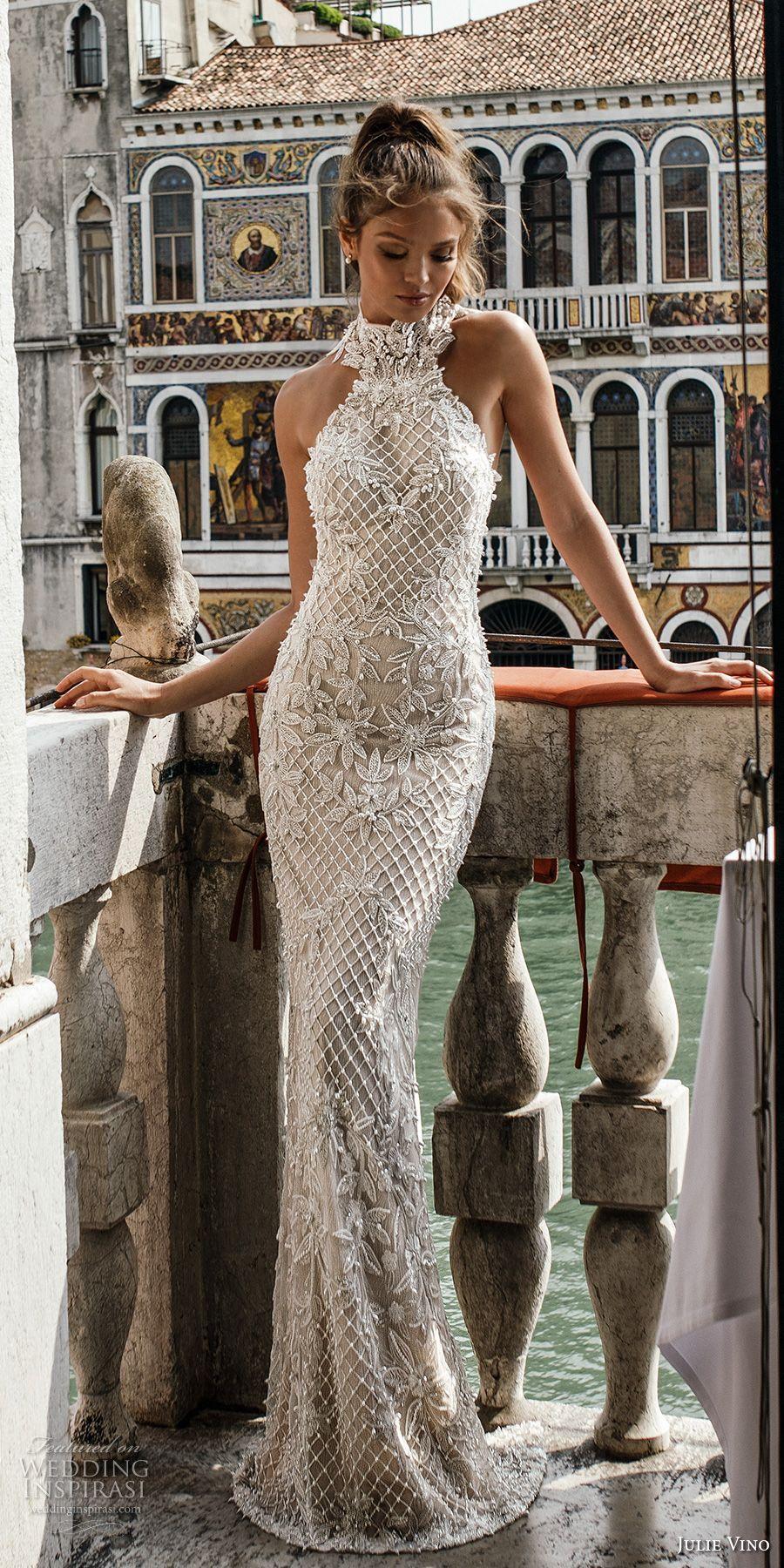 Lace dress bell sleeves june 2019 julie vino spring  bridal sleeveless halter neck full