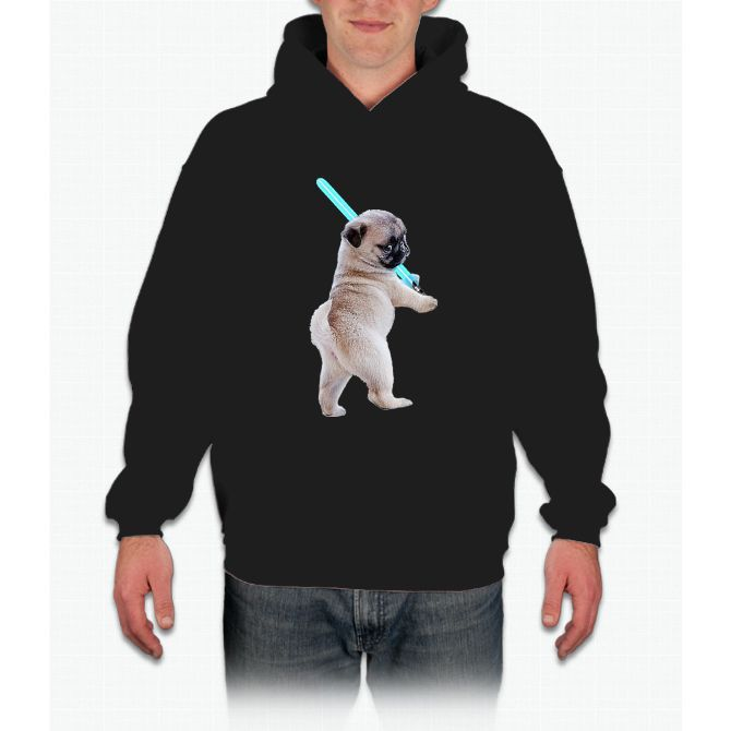 Pug with Lightsaber Hoodie