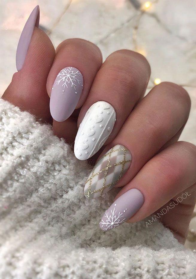 Photo of mismatched winter nails art designs #christmasnail #Winternägel matt Christmas …