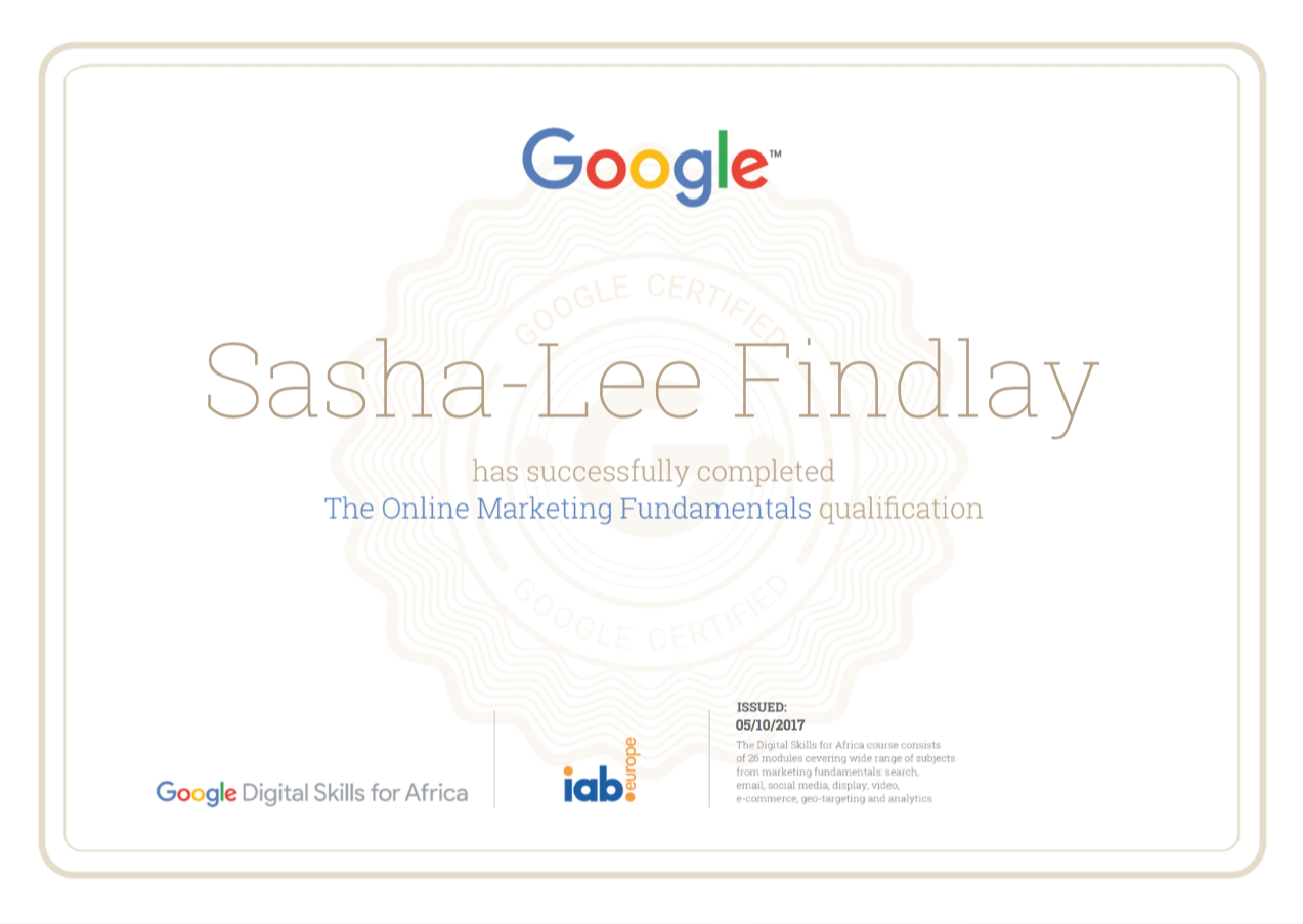 Completed The Google Digital Skills For Africa Certificate Here S To Many More Digitallearning Digitalm Online Marketing Digital Learning Digital Marketing