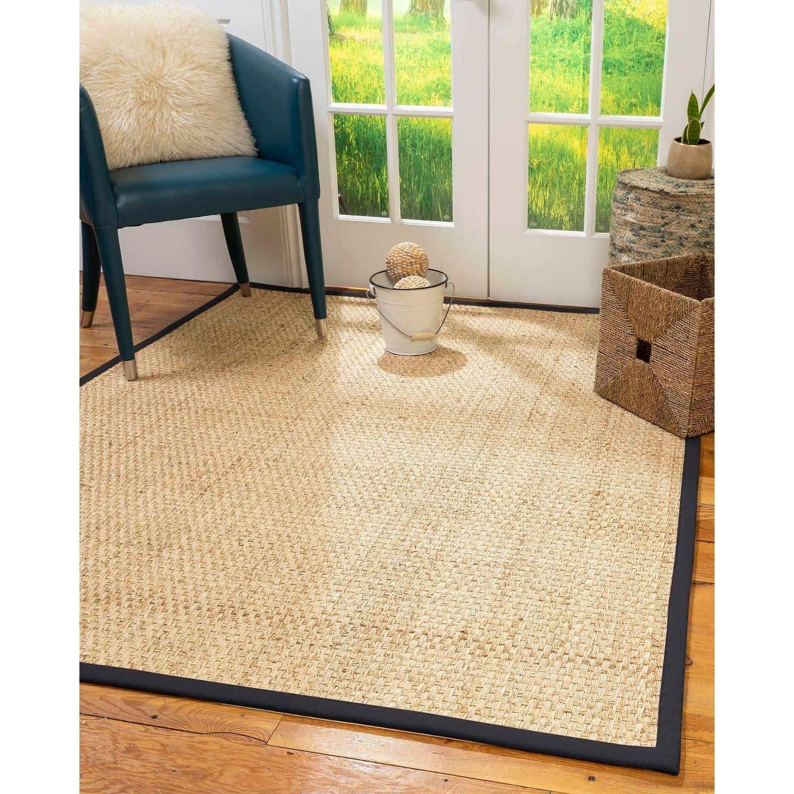Natural Area Rugs 100 Natural Fiber Handmade Miami Natural Seagrass Rug 10 Square Midnight Blue Border Ivory Brown Area Rugs Natural Area Rugs Area Rugs