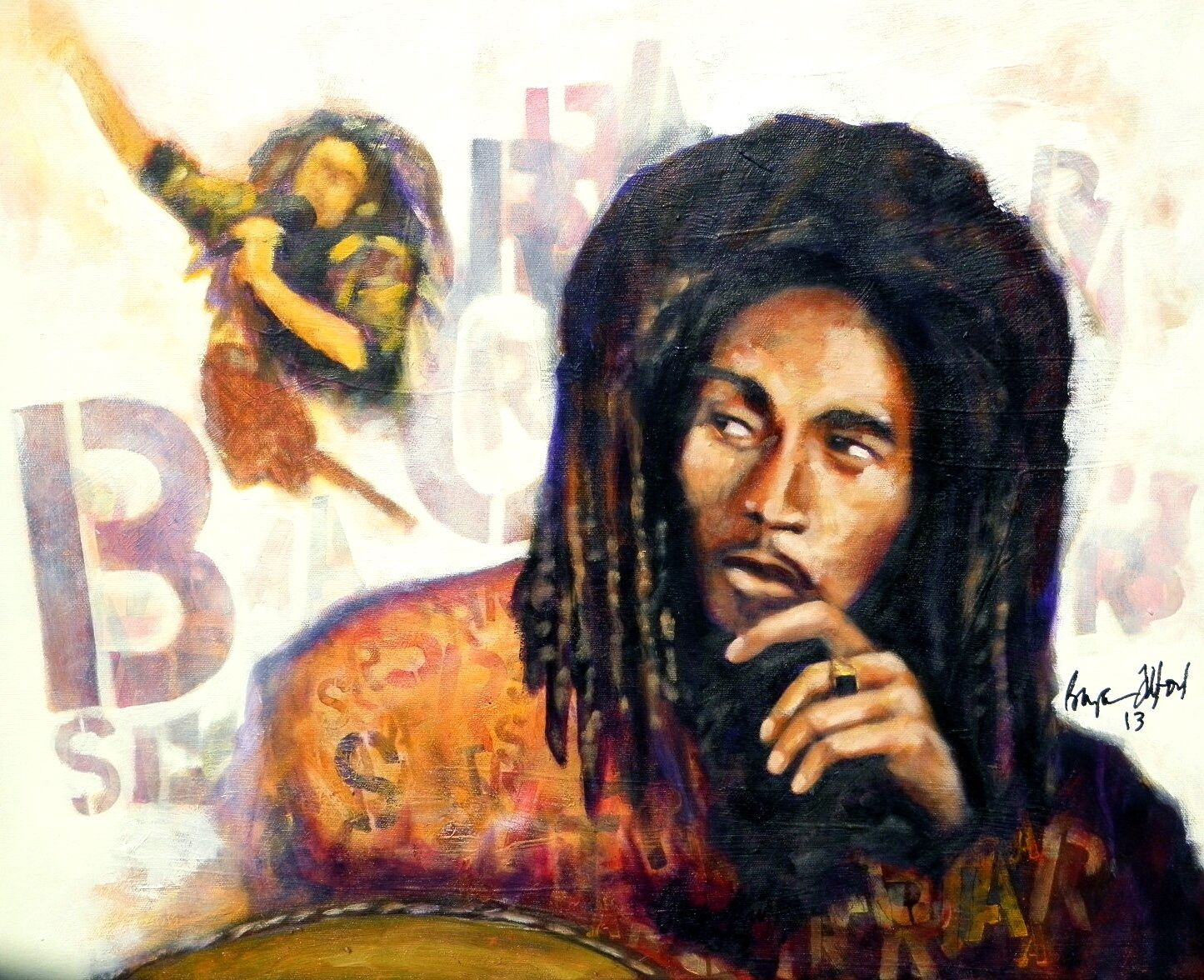 "Can never get too much of Marley. ""Rasta Dreams of Marley"" Acrylic on Canvas Bryan Lee Tilford"
