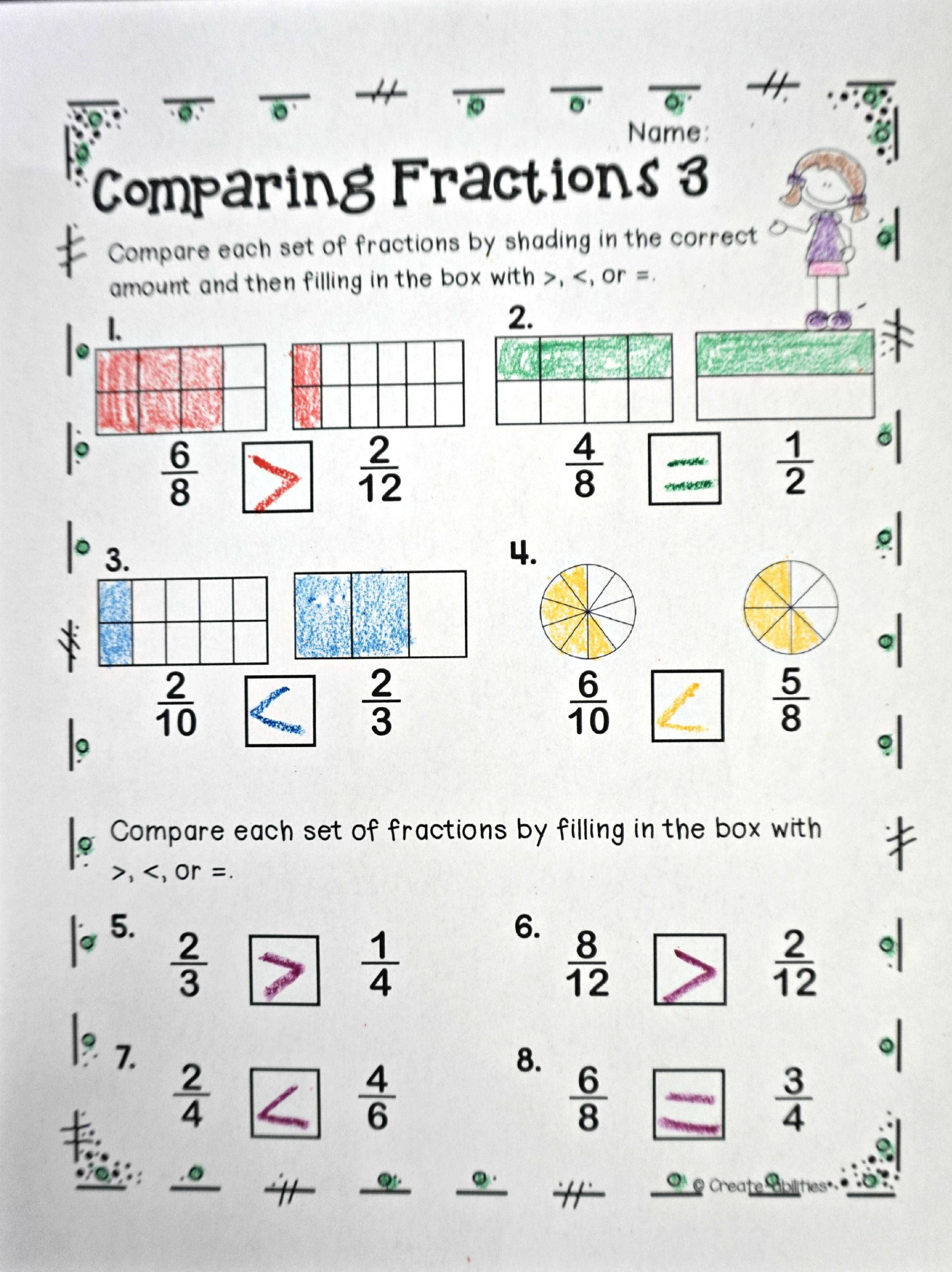 Hilaire image inside comparing fractions game printable