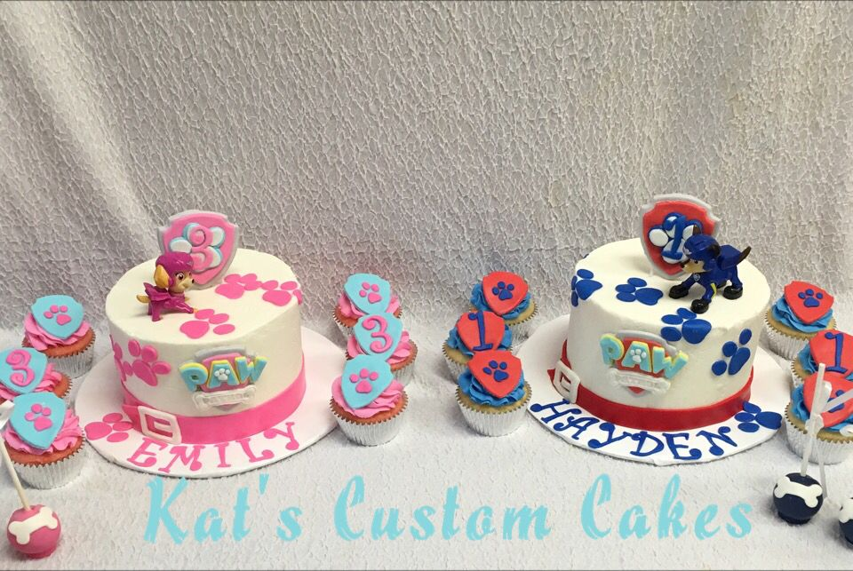 Paw Patrol Cakes Cupcakes And Cake Pops For A Brother And Sister