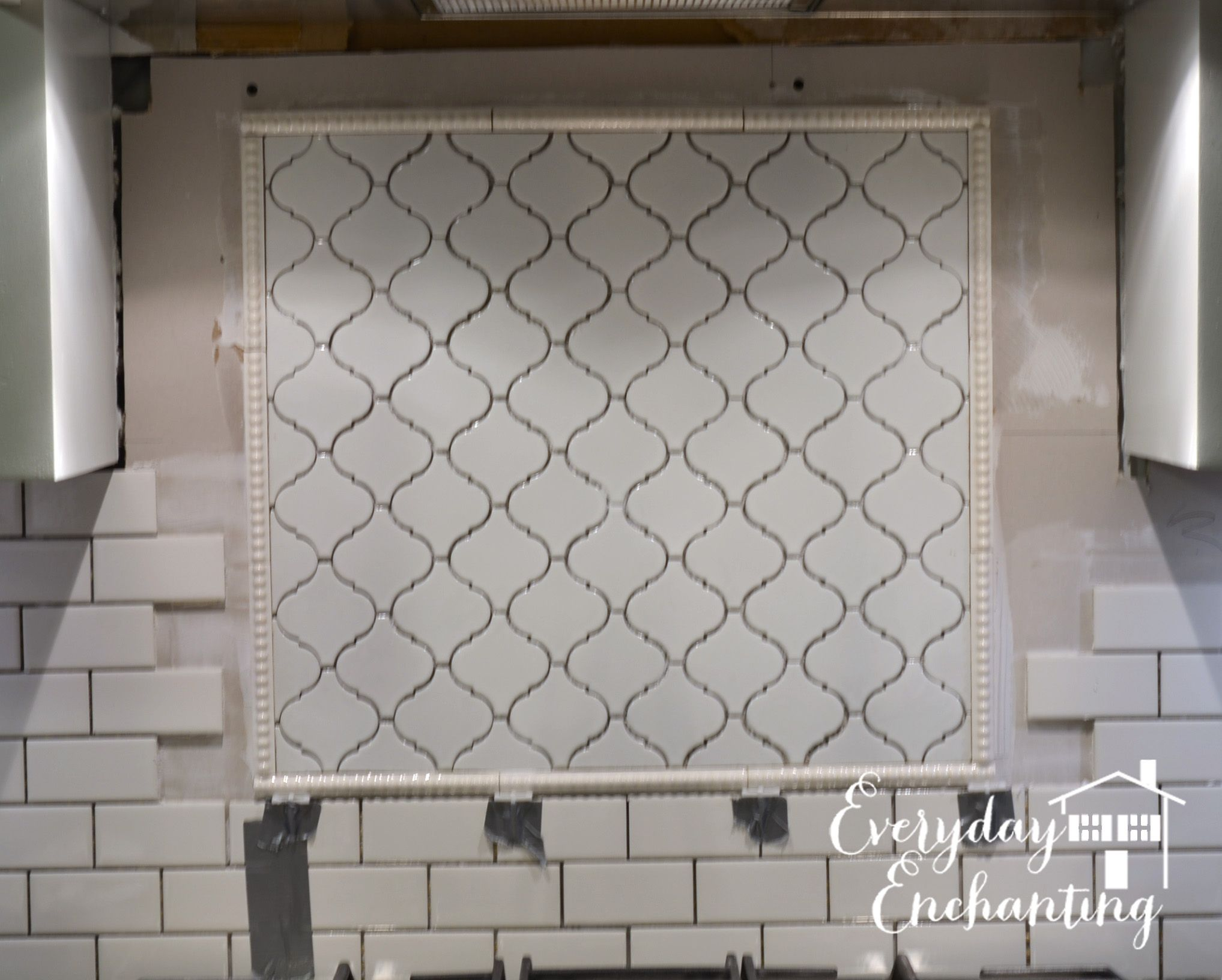 - Arabesque Tile Backsplash Accent Tutorial Kitchen Tiles