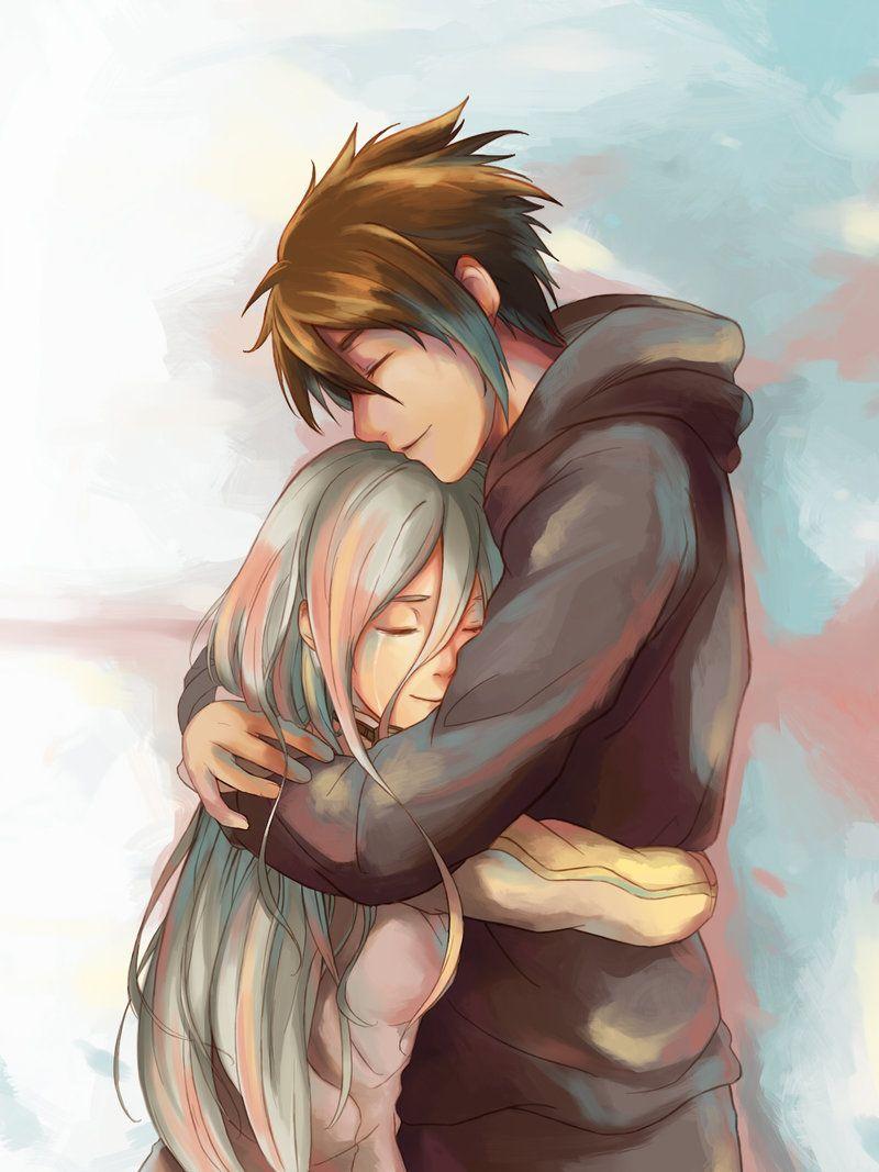 Anime love hug