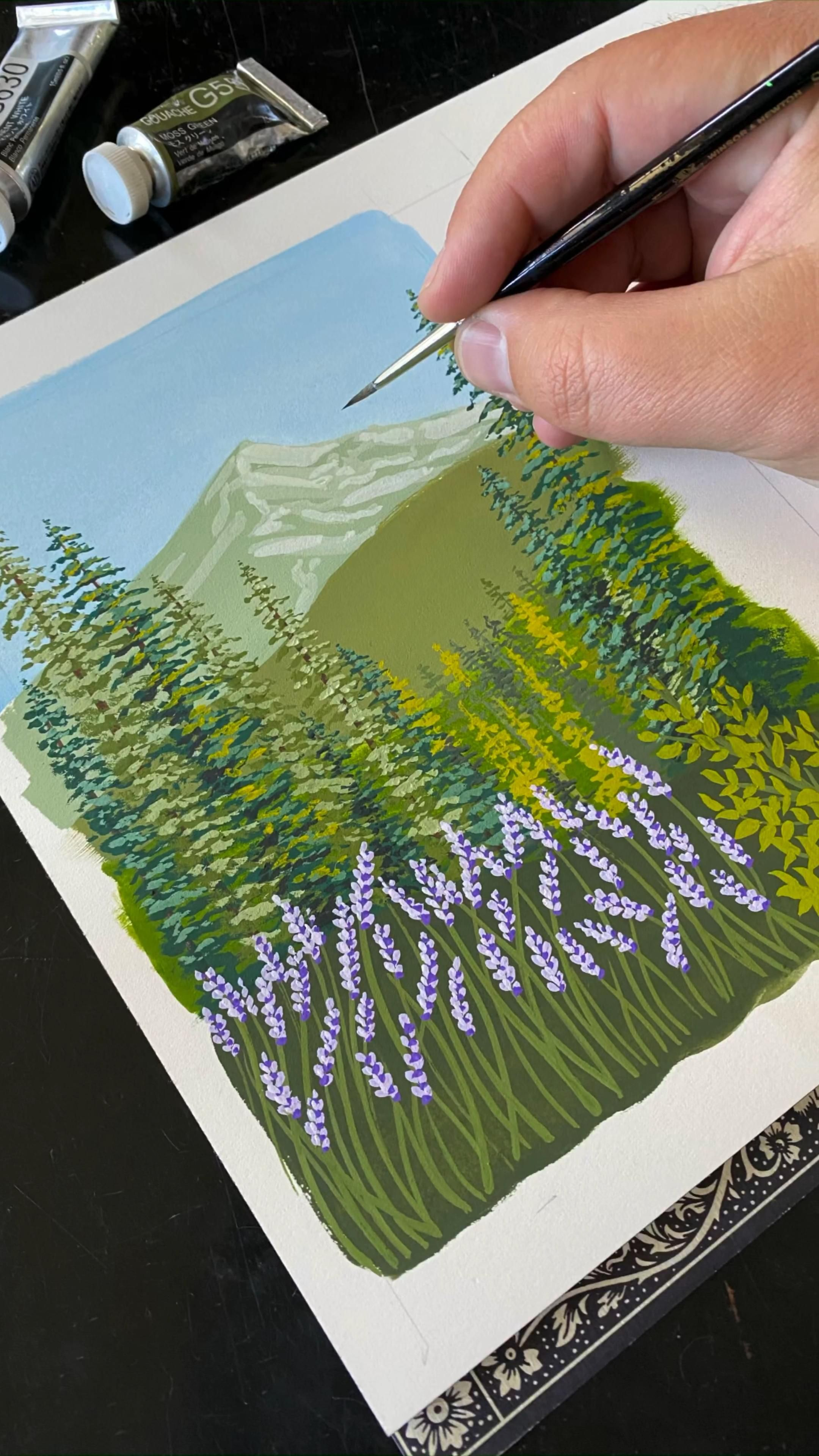 Photo of 🎨 Gouache Painting A Pine Tree Mountain Landscape with some Lavender