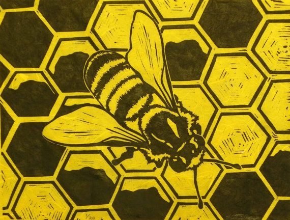 Honey Bee Original Block Print Linocut Signed Limited Edition by Katherine Grey