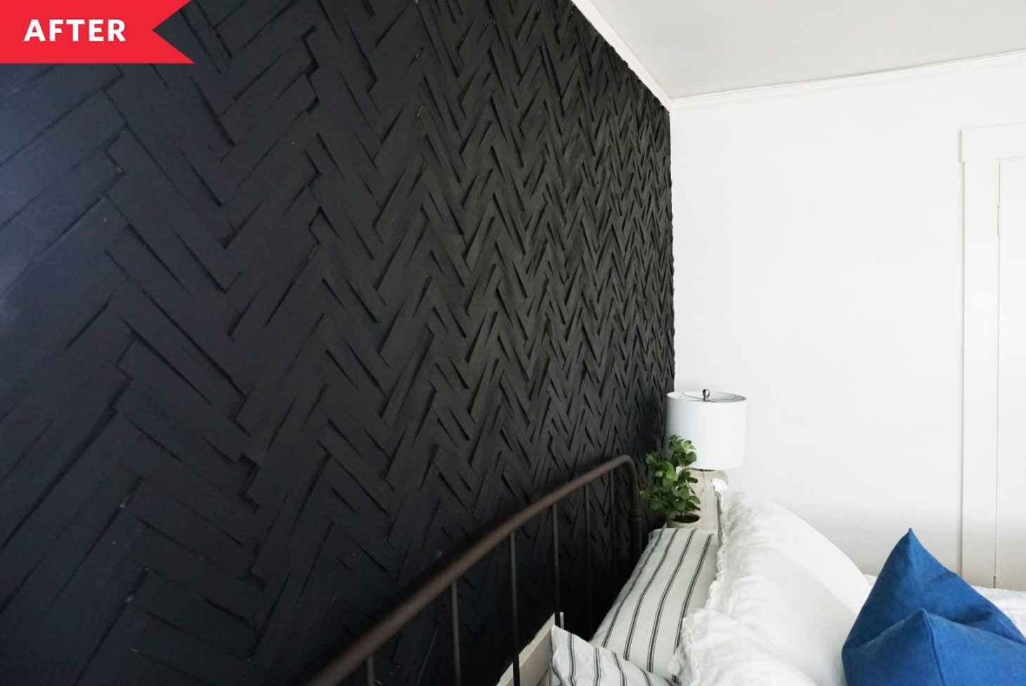 Before And After This 100 Bedroom Accent Wall Uses An Unexpected Building Material Accent Wall Bedroom Black Accent Walls Bedroom Accent