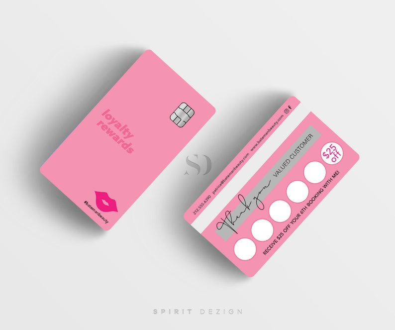 Credit Card Business Cards Loyalty Card Pink Business Cards Etsy Loyalty Card Design Plastic Business Cards Loyalty Card